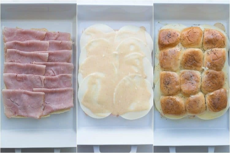 Step-by-step photo instructions how to make ham and cheese sliders recipe.