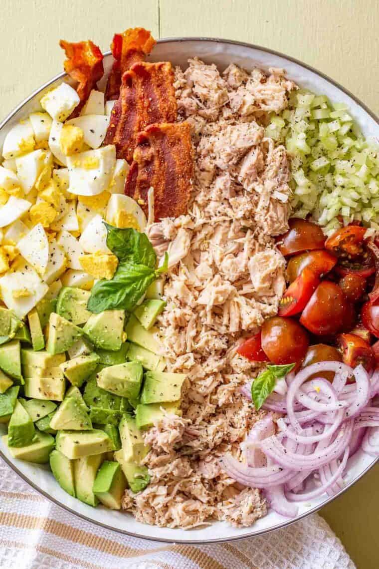 Hearty chicken salad in a large salad bowl.