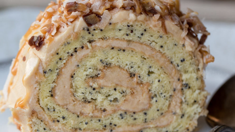 Poppy Seed Roulade recipe with coconuts.