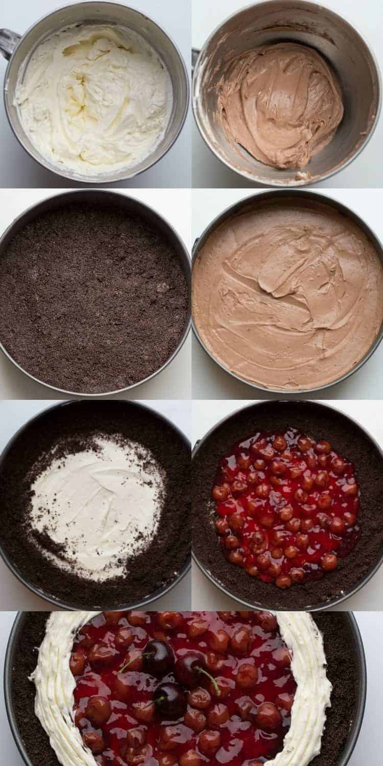 Step by step tutorial collage with how to prepare black forest cake.