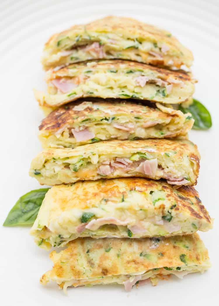 Breakfast zucchini pancakes I stacked on top of each other, cut in halves. Stuffed with ham and cheese.