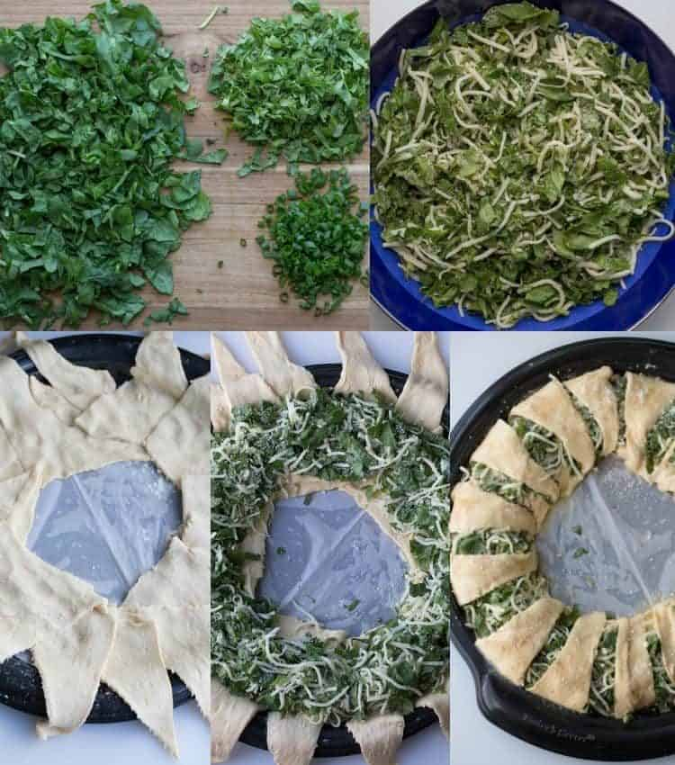 How to make Spinach and Cheese Crescent Ring on a baking sheet.