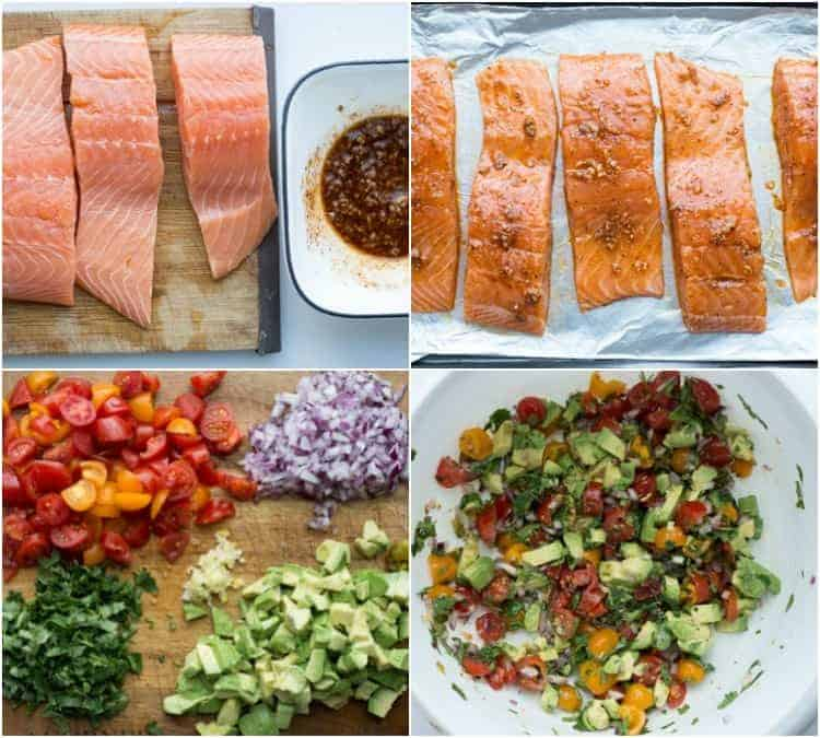 Step by step tutorial on how to make baked salmon and salsa.