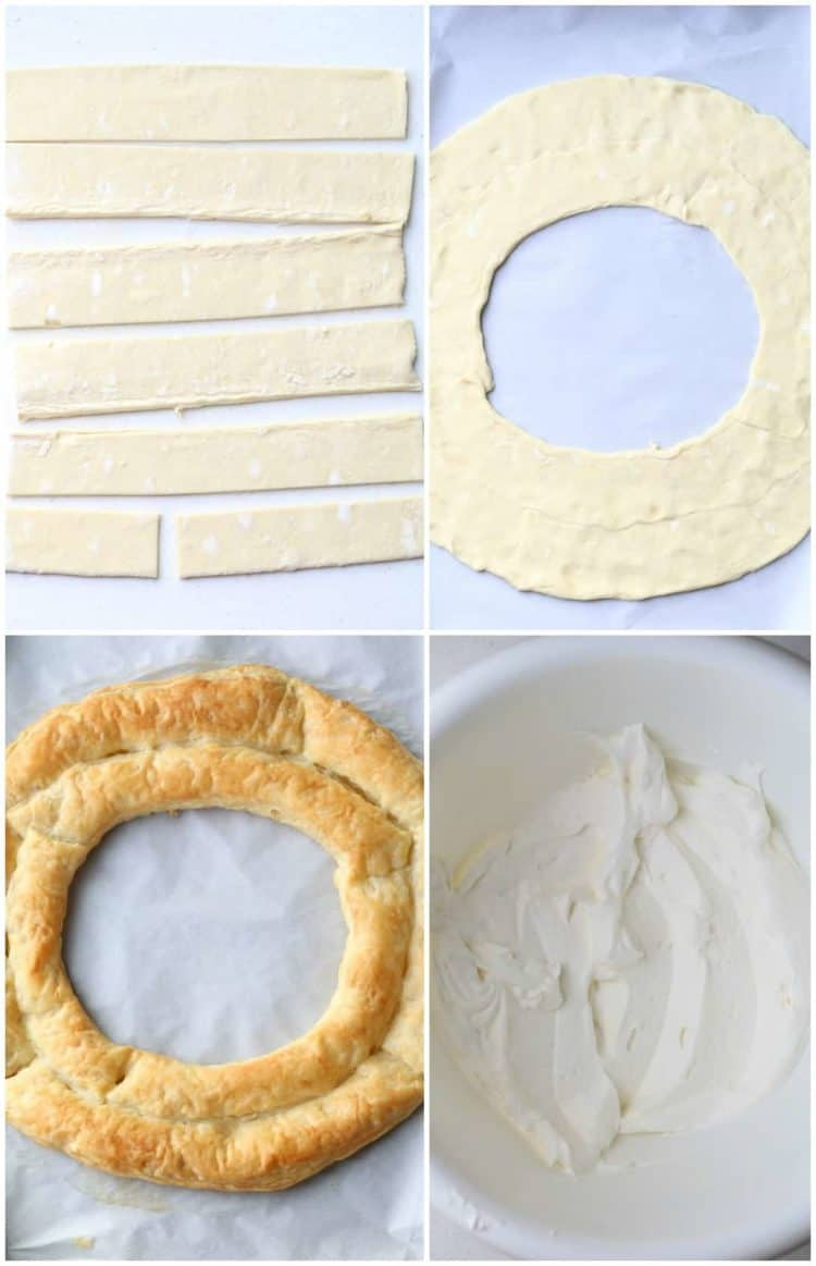 Step-by-step photos how to make puff pastry wreath and cream.