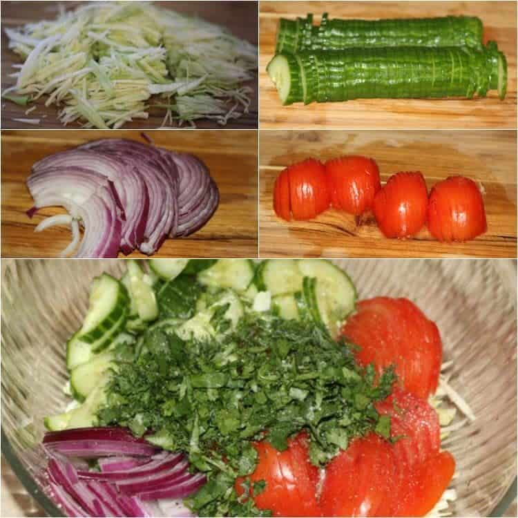 Step by step pictures on how to make this cucumber salad with cabbage, onion, and tomatoes.