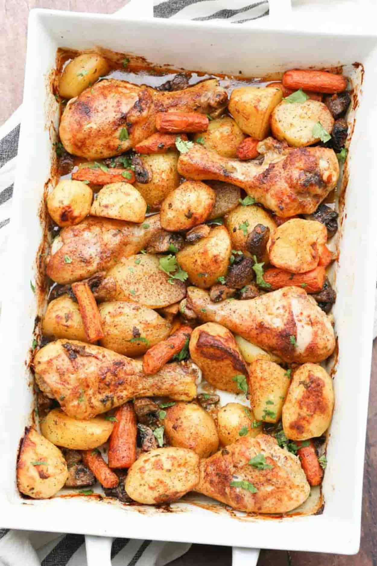 One Pan Baked Chicken Legs And Potatoes Valentina S Corner