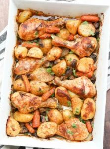 one pan baked chicken potatoes and vegetables