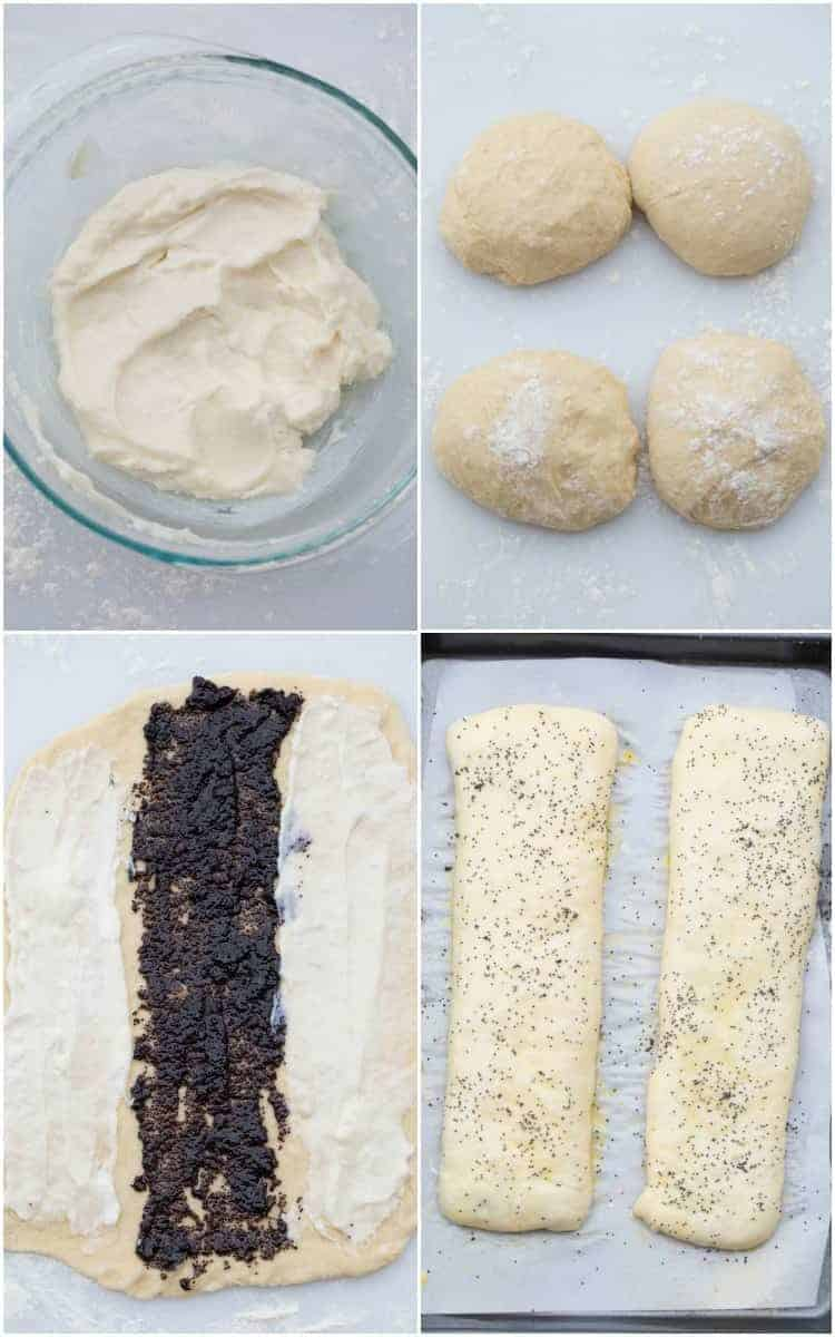How to roll out the rolls and add the cream cheese and poppy seed filling to them.