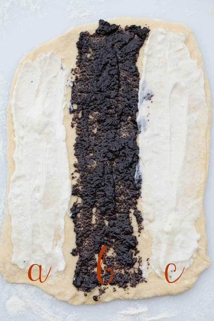 Step by step directions how to fold the poppy seed roll recipe.