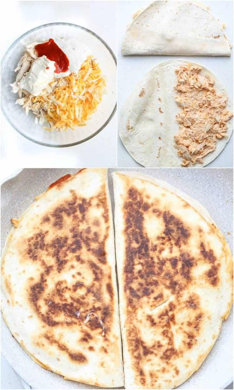Step-by-step photos how to make chicken quesadillas with cheese.