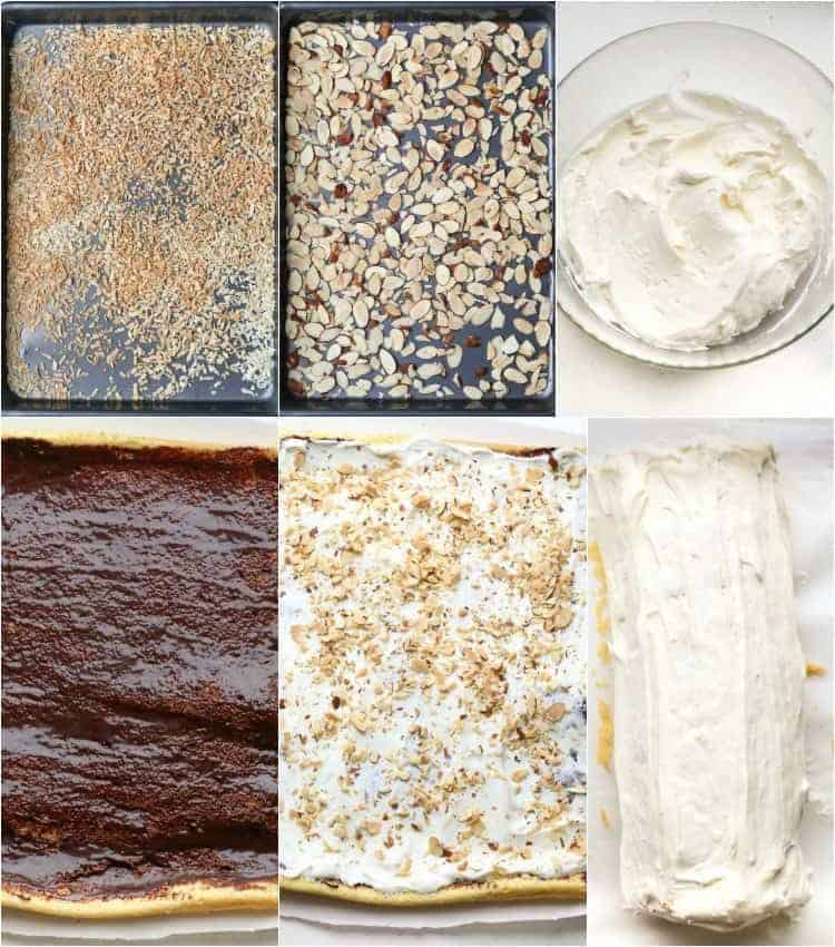 Step by step pictures on how to assemble swiss roll with a chocolate layer and a sweet cream.