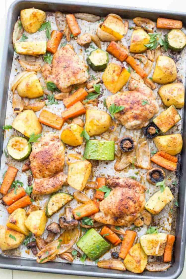 Baked One Pan Meal with Chicken, Potatoes and Vegetables.