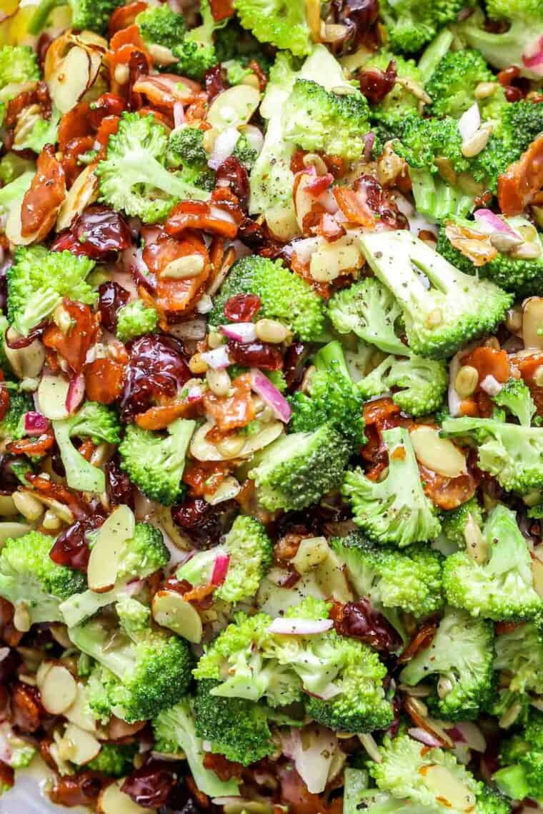Upclose picture of broccoli bacon salad.
