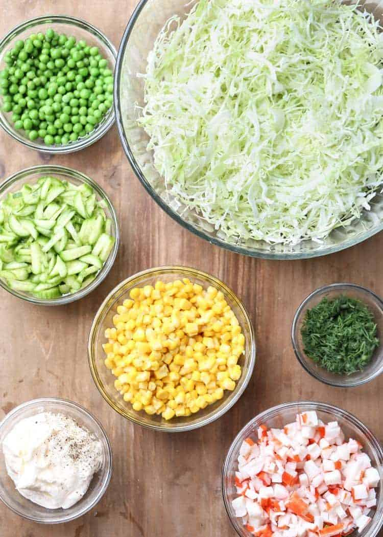 Step by step for how to make crab cabbage salad.
