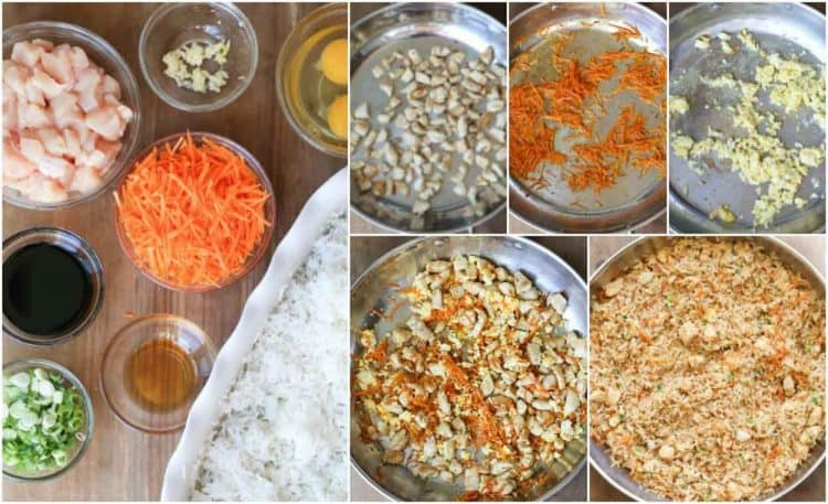 Step by step photo for how to make fried rice with chicken and vegetables.