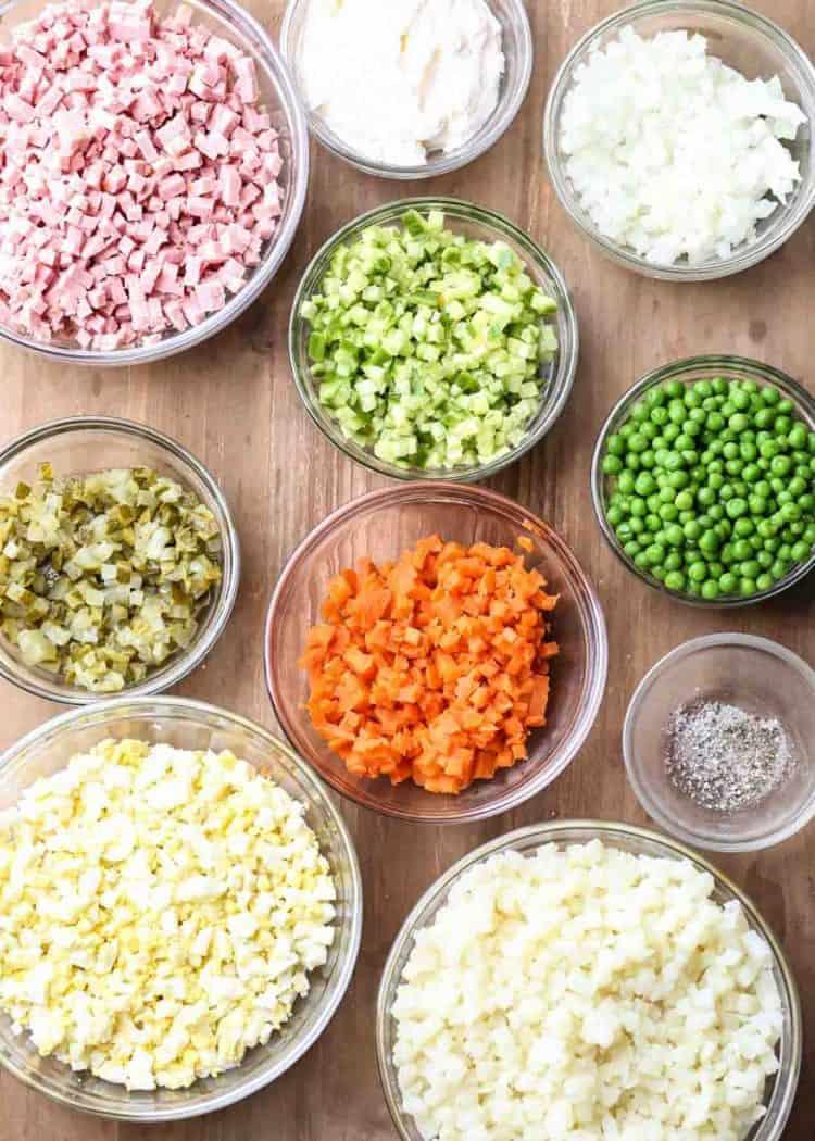 How to prepare Olivier Salad Recipe (Russian Potato Salad).