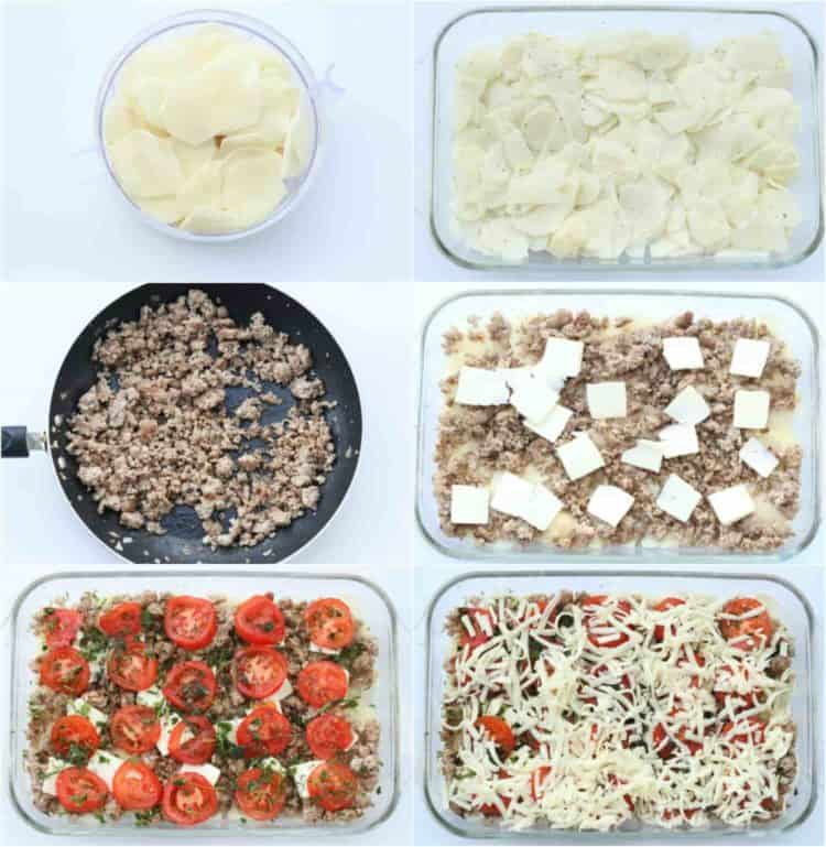 Step by step pictures for easy meat and potato casserole recipe.