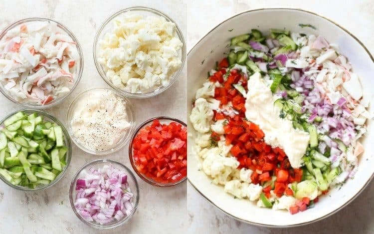 Step-by-step photo collage of how to make crab salad.