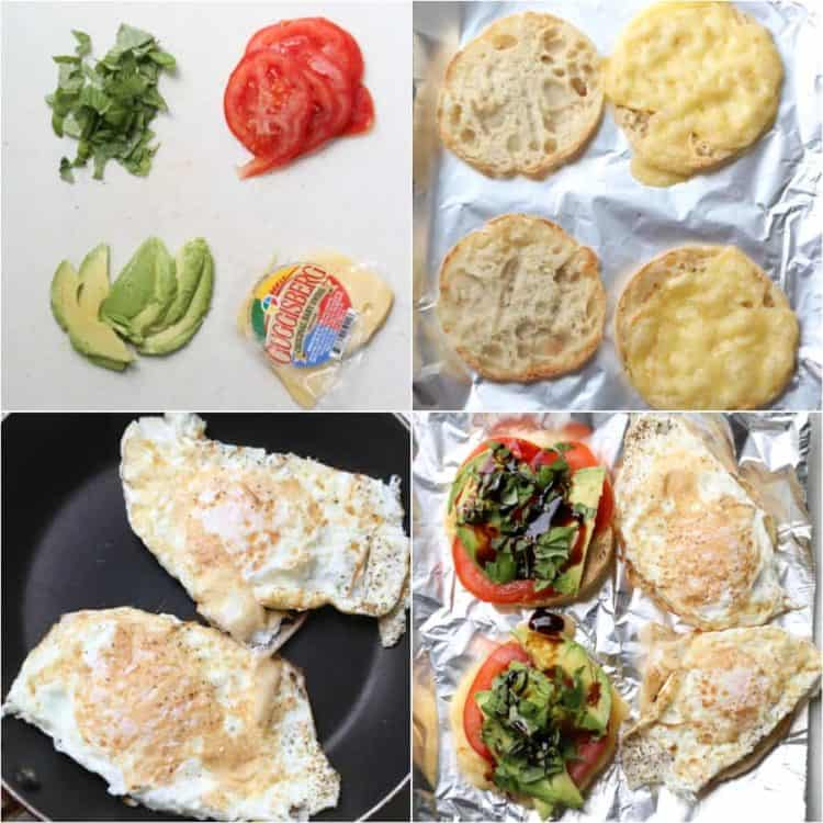 Step by step instructions on how to make this avocado egg breakfast sandwich.