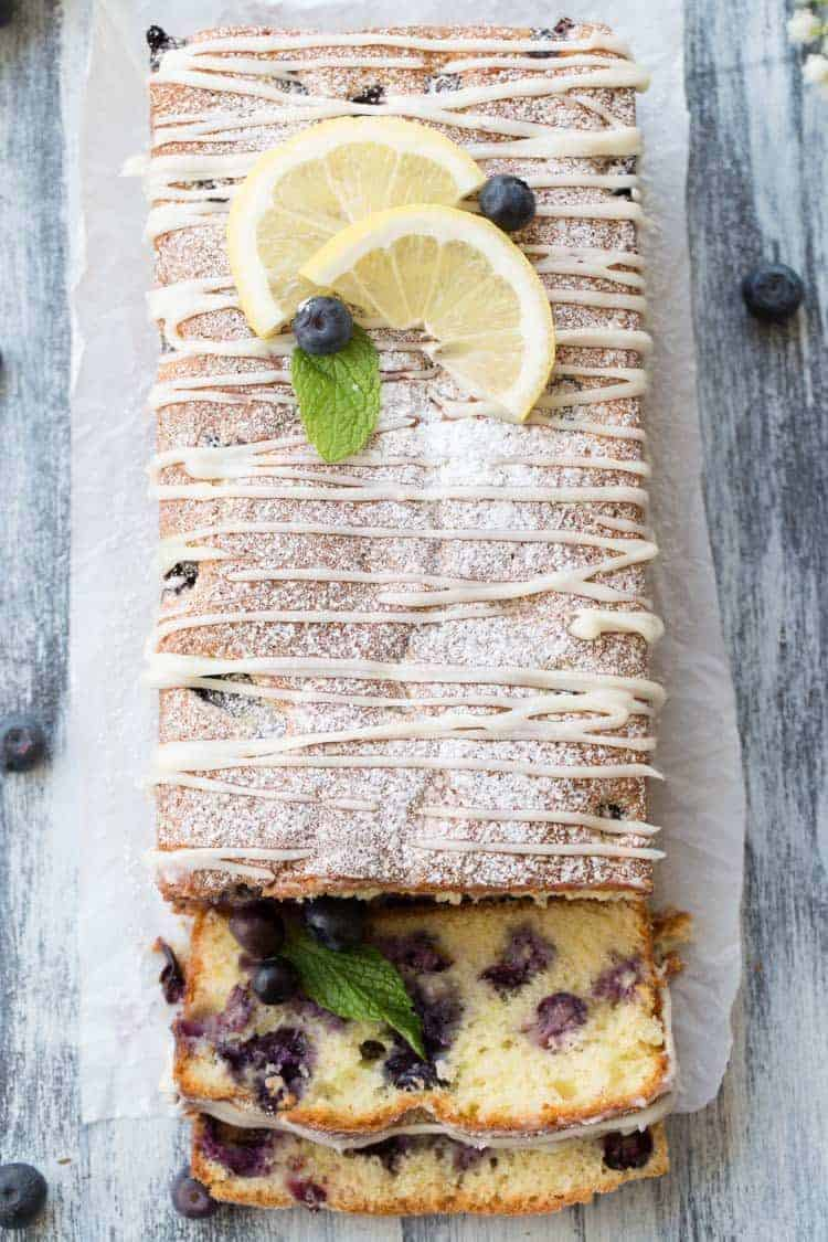 Slices of Best Lemon blueberry Cake Loaf Recipe.