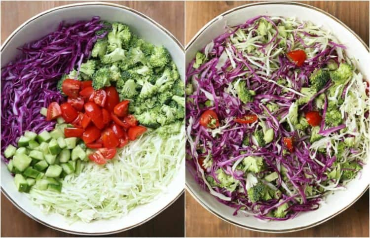 Broccoli cabbage salad with red cabbage. Step by step instructions on how to make this salad.