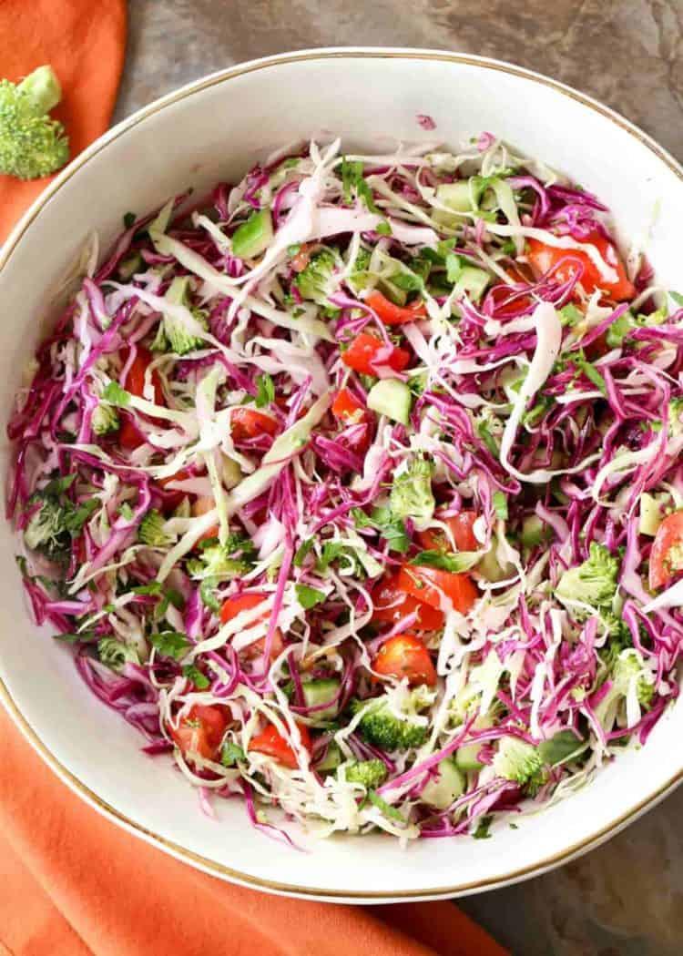 Broccoli cabbage salad recipe in a bowl.