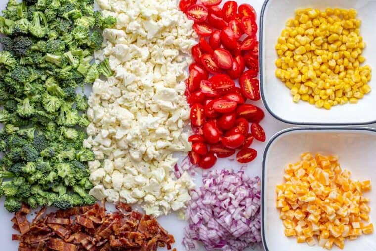 All the ingredients cut up for hearty broccoli salad.