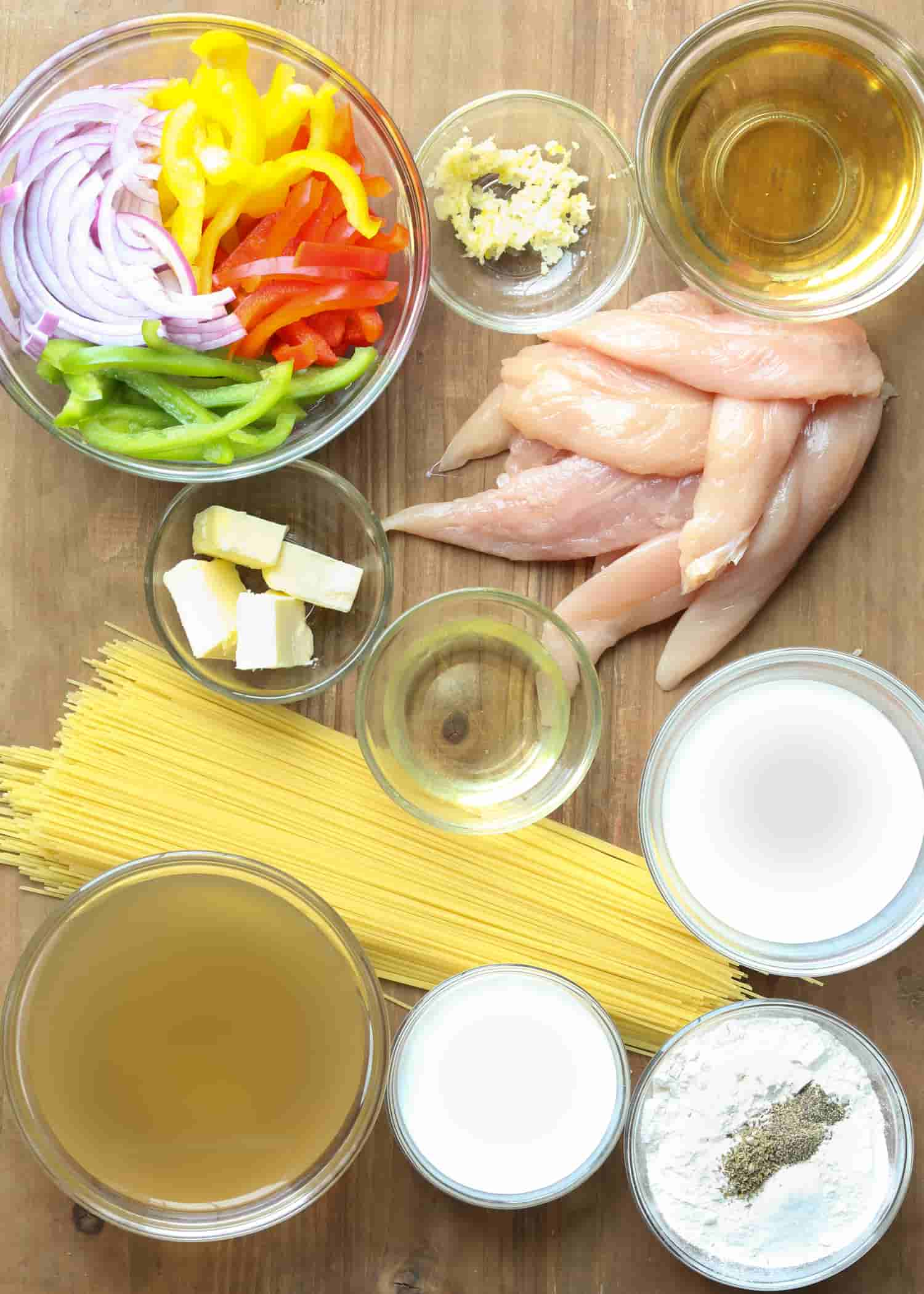 Ingredients for chicken scampi recipe.