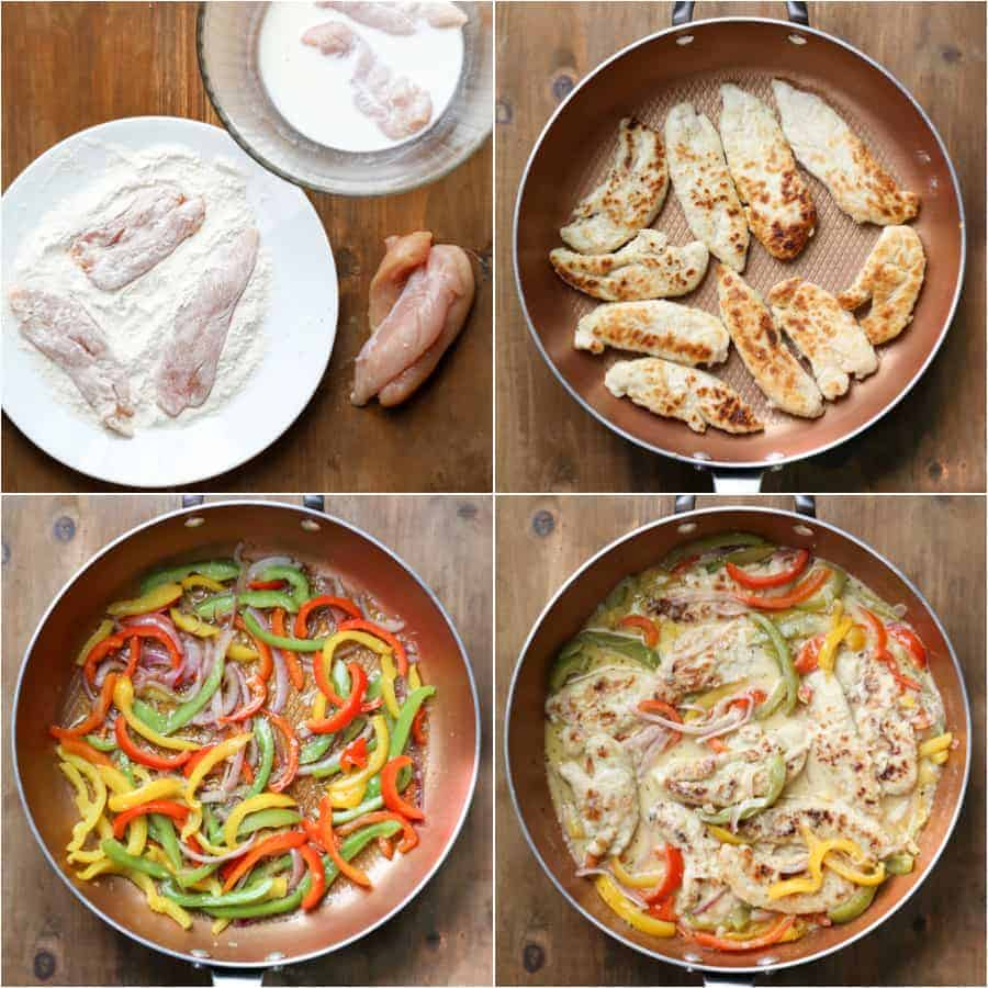 Step by step photo instructions on how to make chicken scampi.
