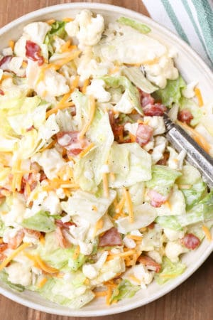 Bacon Caulilfower Salad with lettuce, cheese, and a homemade whipped mayo dressing.
