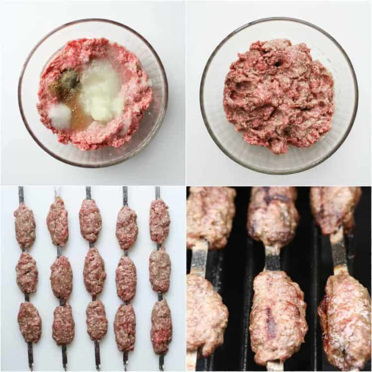 Step by step pictures on how to make ground beef kabobs.