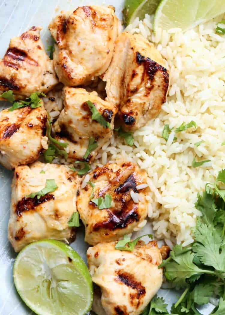 These juicy grilled chicken kebabs with lime is made with a delicious spicy marinade.