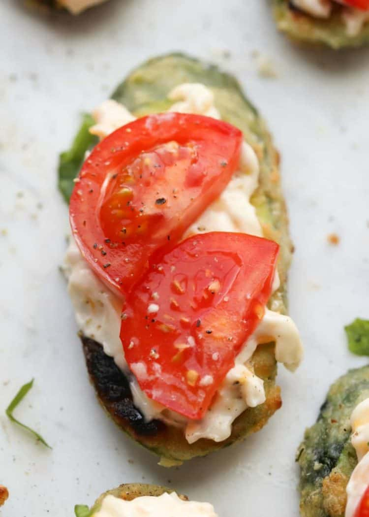 Appetizer recipe for Fried Zucchini and Tomato.