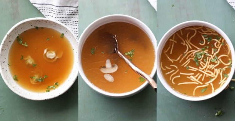 Serving bone broth with different ingredients. Three different bowls of bone broth.