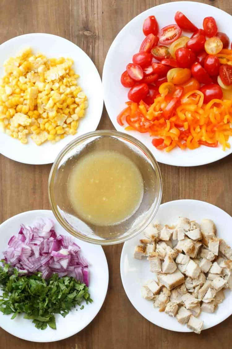 Step by step pictures of ingredients for how to make Mexican chicken salad.