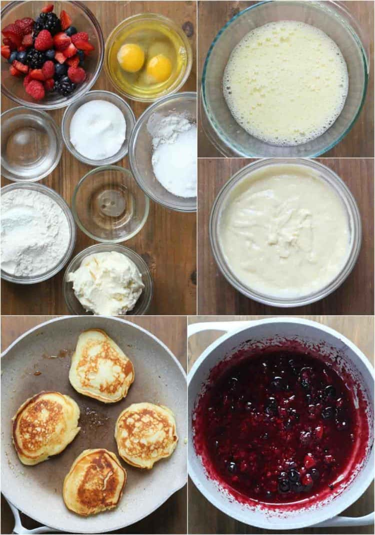 Step by step pictures of how to make ricotta pancake recipe.