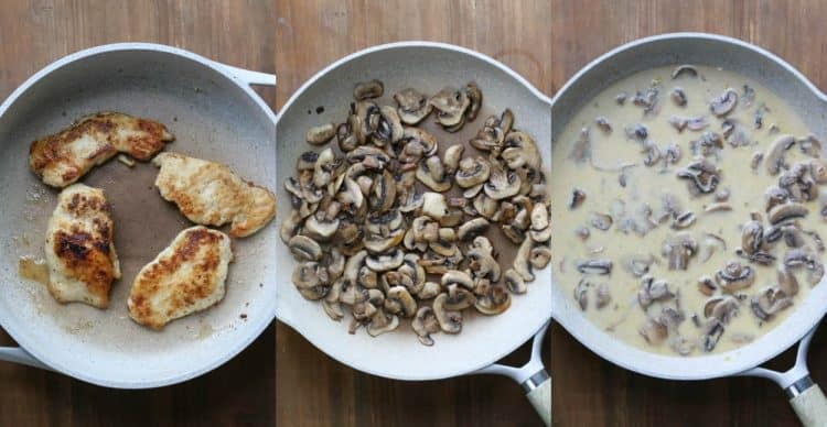Step by step picture of how to cook the chicken and make the chicken marsala.