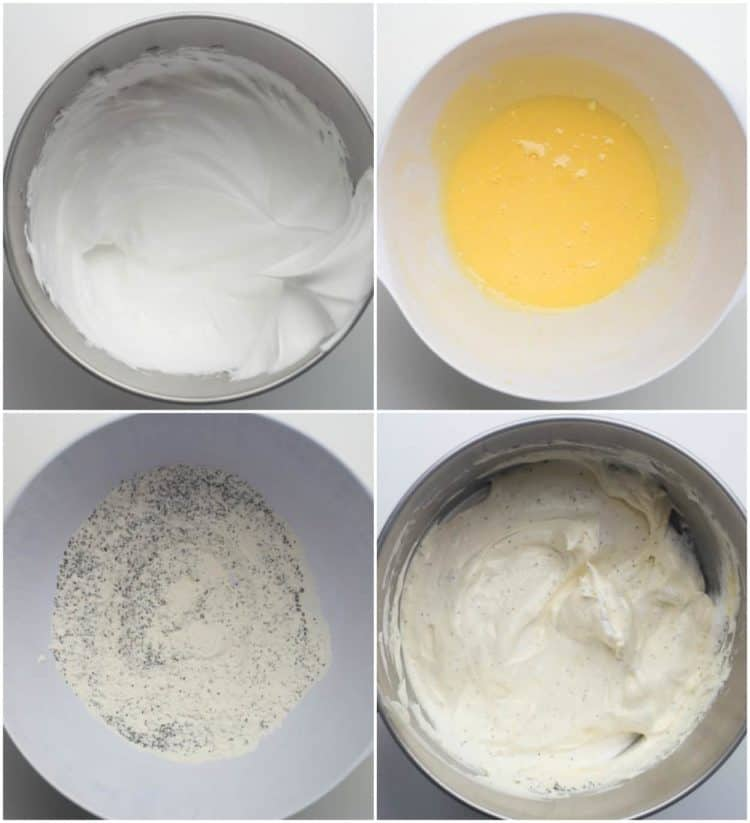 Step by step pictures of how to make the sponge cake batter with poppy seeds.