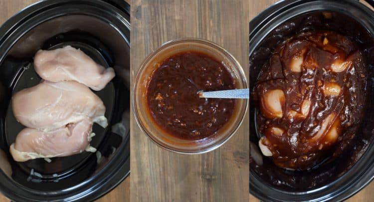 How to make slow cooker pulled chicken in a crock pot.