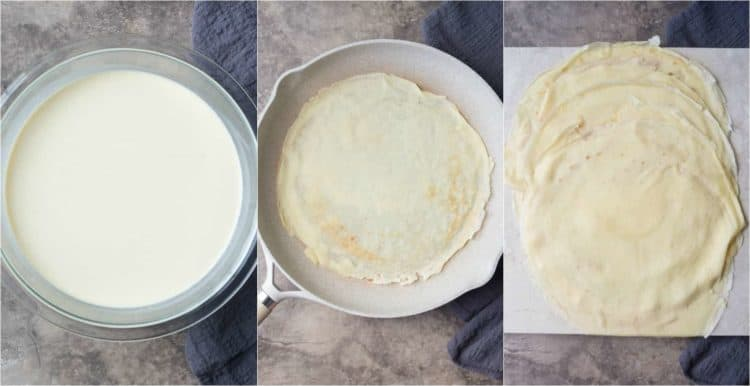 How to make crepes. The batter, and the cooking of the crepes. Simple custard filled crepes recipe!