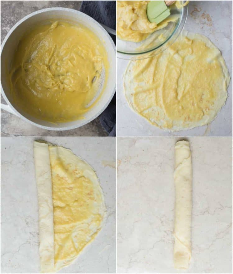 How to make custard filled crepes with a blueberry filling. A great crepe recipe to follow!