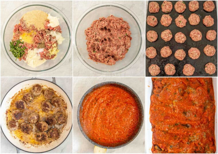 Step by step collage of how to make homemade meatballs.