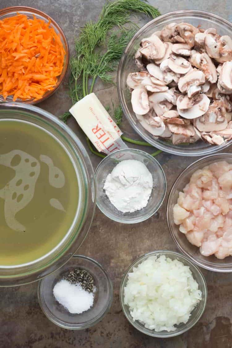 Ingredients needs for this chicken mushroom gravy recipe.