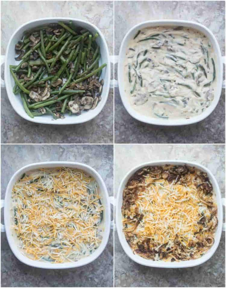 How to make this green bean casserole recipe with mushrooms, cheese, and onion strings.