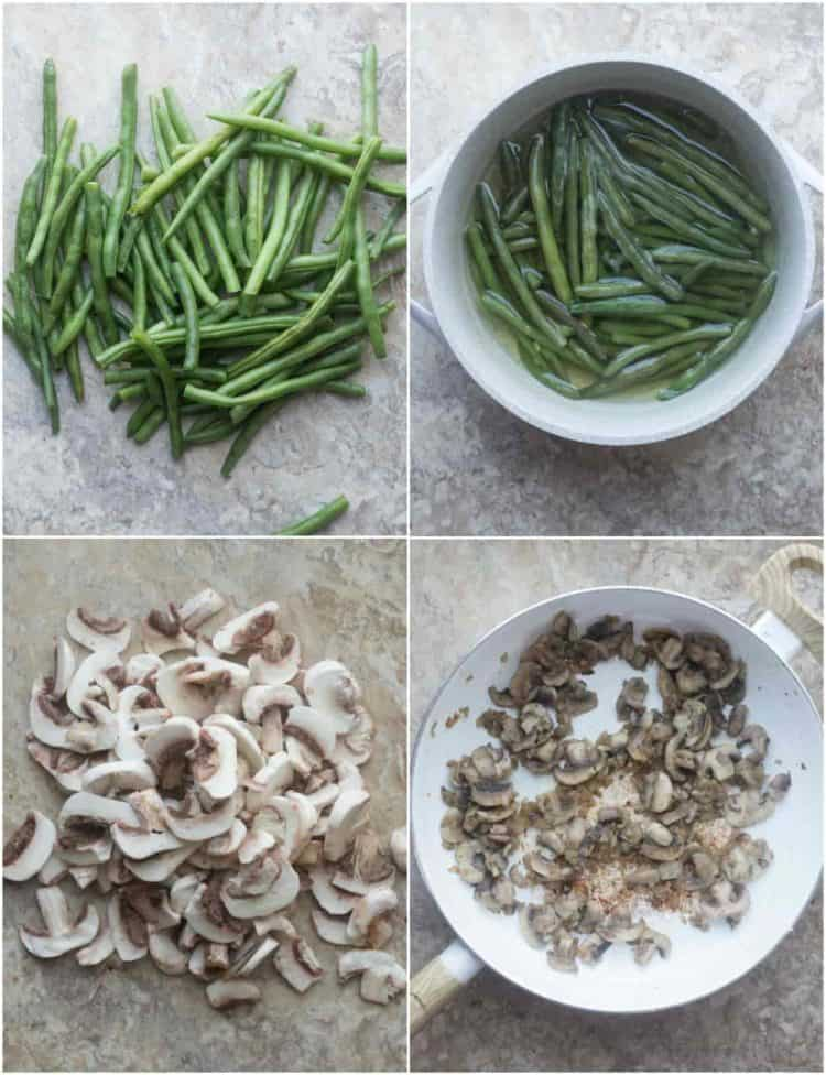 Simple and delicious green beans casserole recipe. How to prepare the green beans and sautéing the mushrooms.