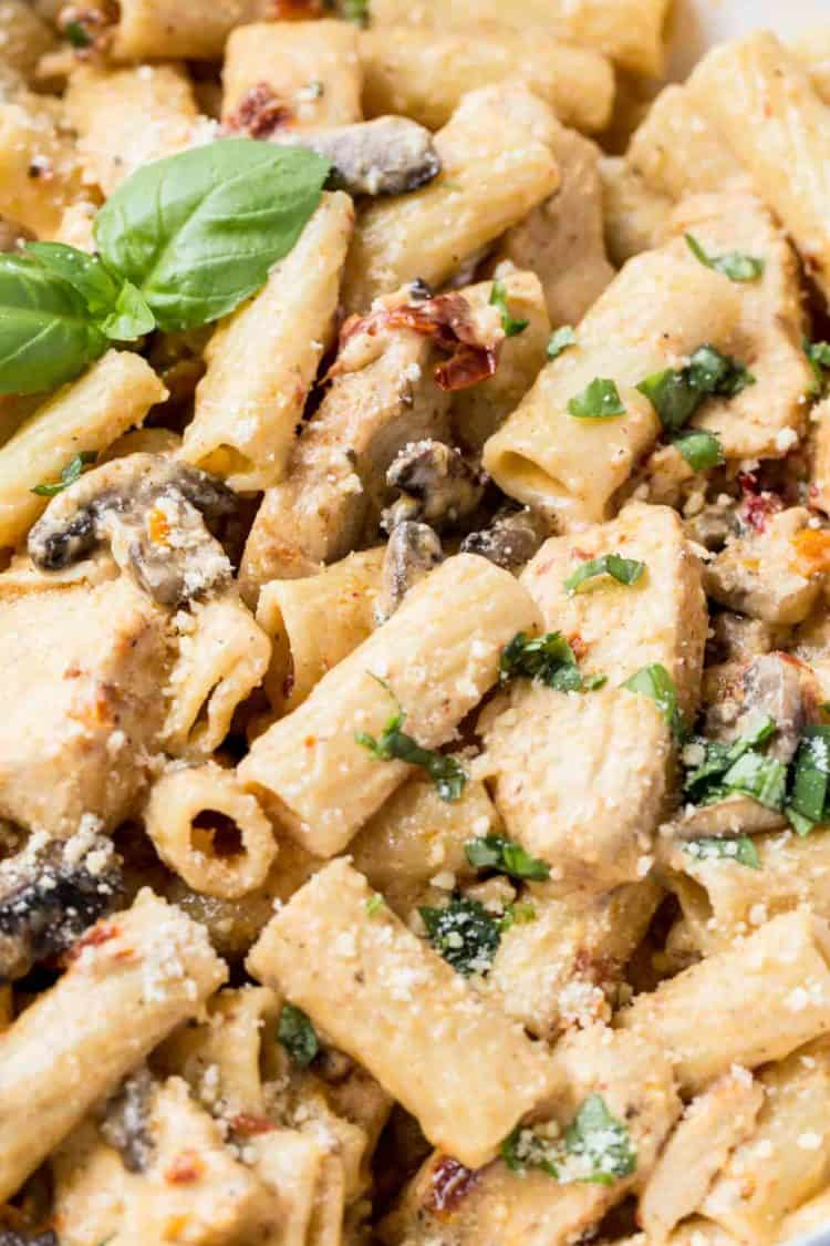 Up close picture of chicken pasta with mushrooms and sun dried tomatoes, chopped cilantro, and fresh grated Parmesan.