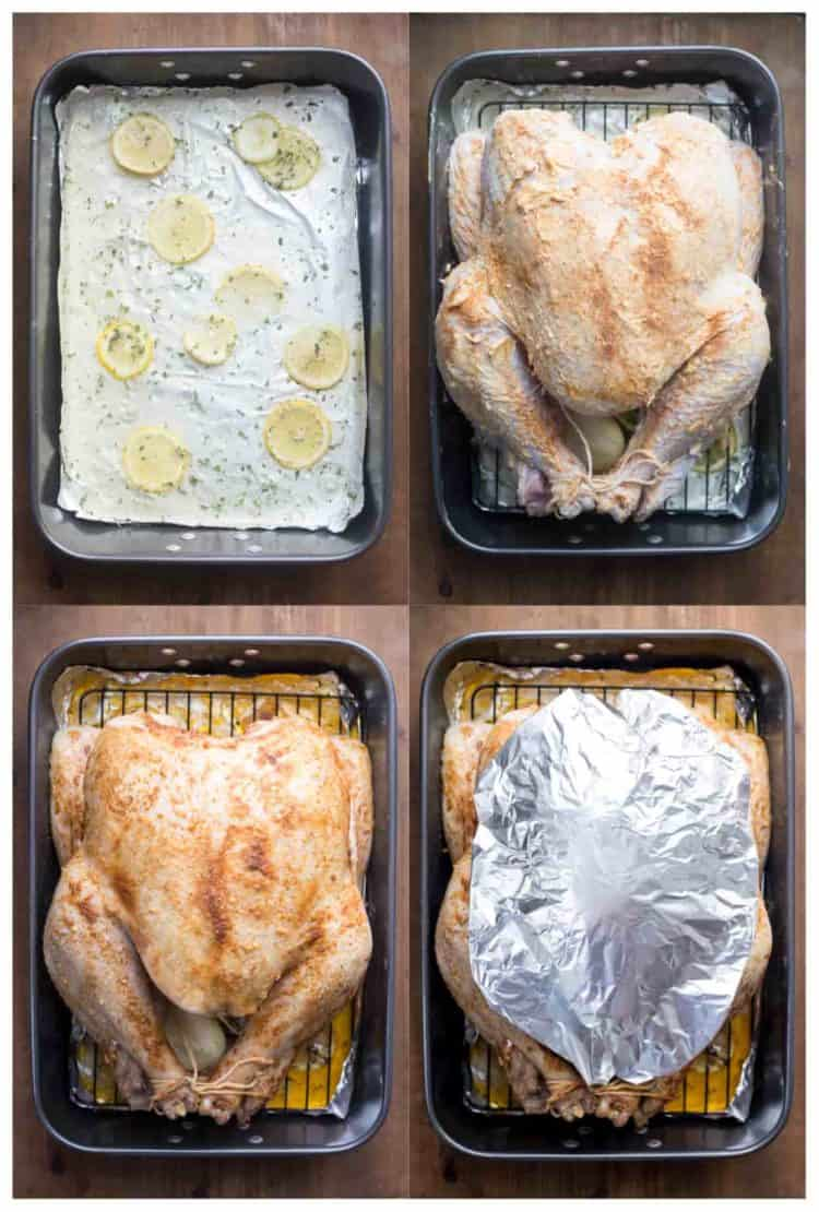 Preparing the roasting rack with lemon and juices. How to roast turkey in a pan.
