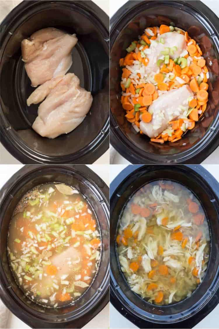 How to make Crockpot chicken noodle soup. Step by step instructions on how to make chicken noodle soup.