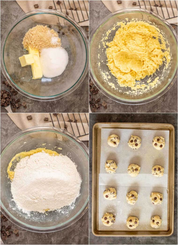 Step by step collage of how to make homemade chocolate chip cookies.