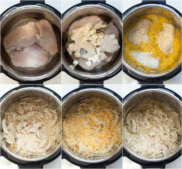 How to make instant pot crack chicken recipe with cheese, cream cheese, and chicken.